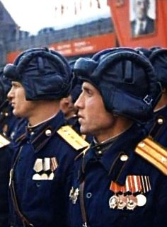 Soviet tank men at the Victory Parade on the Red Square in Moscow, Russia, 24 June 1945.
