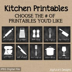 Kitchen Decor PRINTABLE signs. Set of by JoyfulArtDesigns on Etsy