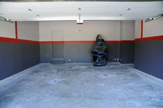 Red And Grey Garage Wall Painting Ideas