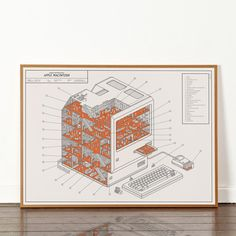 Dorothy's cutaway print imagines the internal goings-on inside the original Apple Macintosh. Look closely at our miniature world to discover the hidden references to Apple (and popular culture) woven into the illustration, and discover what its tiny inhabitants get up to when they think no one is watching.