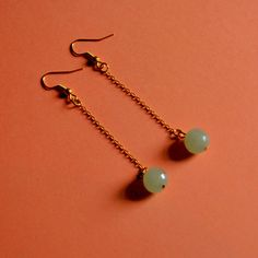 Gold Plated Green Jade Drop Earrings