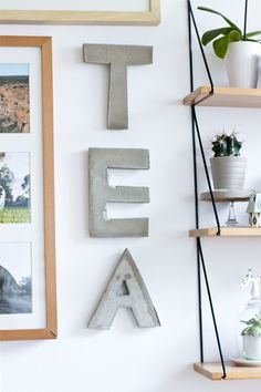 DIY Créer des lettres en béton. (create every word you like) (http://look-what-i-made.com/2013/10/25/tea-is-a-3-letter-word/)