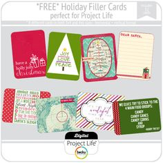 Free digital Christmas project life cards