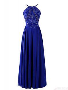 Blue Beading Bodice Backless Long Chiffon  Prom Dresses Evening  Dresses  #SIMIBridal #promdresses