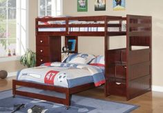 Bunk Bed with Stairs, Storage Drawers, Dresser, & Shelves