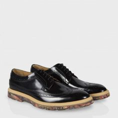 Paul Smith Shoes - Men's Black Leather Grand Marbled Brogues
