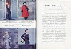 British Vogue December 1950 Christmas Gifts featuring Vogue Paris Original Patterns   Vogue 1118 (Paquin), Vogue 1115 (Schiaparelli) up   Vogue 1114 (Balmain) and Molyneux