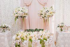 Wedding Guest Men, Head Table Decor, Bridal Table, Wedding Decorations, Table Decorations, White Wedding Flowers, Dahlias, Hydrangeas, Flower Arrangements