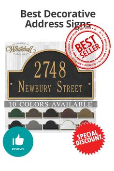 Best Decorative Address Signs - Discount and review Address Signs, Newbury Street, Decorative Signs, Color, Decorative Screen Panels, Colour, Colors