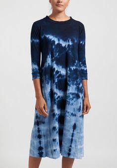 Gilda Midani Pattern Dyed Maria Dress in Blue Ray | Santa Fe Dry Goods . Workshop . Wild Life Santa Fe Dry Goods, Wild Life, Striped Shorts, Chic Outfits, Tie Dye Skirt, Black And Grey, Workshop, Chic Clothing, Shibori