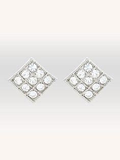 Boutons d'oreilles damier de cristaux