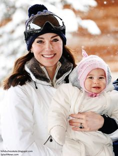 Duchess Catherine and Princess Charlotte on their first family skiing holiday in March 2016