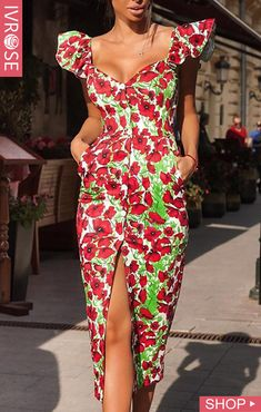 Floral Print Slit Ruffles Design Dress We Miss Moda is a leading Women's Clothing Store. Offering the newest Fashion and Trending Styles. African Print Fashion, African Fashion Dresses, Fashion Prints, African Attire, African Wear, Look Fashion, Fashion Outfits, Beautiful Ankara Styles, Ankara Dress