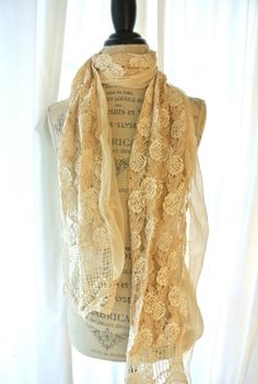 Shabby lace scarf cottage rose wrap country by TrueRebelClothing, $32.00