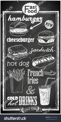 hand-drawn fast food menu on chalkboard