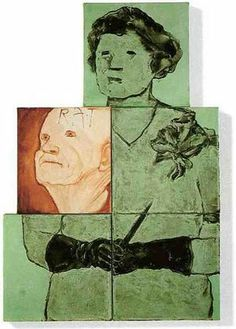 Ida Applebroog - Unknown lino cut an image using several pieces of lino and mix and match their location