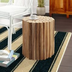 Foundstone™ Tatyana Solid Wood End Table   Wayfair Indoor Outdoor Area Rugs, Outdoor Decor, Ceramic Stool, Wood Pedestal, Wood End Tables, Garden In The Woods, Wood Accents, Teak Wood, Rug Making