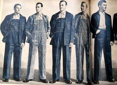 1897 sears roebuck & co catalogue, gentlemen, at least their faces looks like it, damn good! Overalls Fashion, Workwear Fashion, Denim Overalls, Mens Fashion, Denim Shirts, Denim Jeans, Fall Fashion, Fashion Trends, Denim Vintage