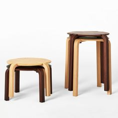 """Dutch designer Richard Hutten based the leaf-like form of these wooden stools on the shape of the """"lucky"""" four-leaf clover. Hutten sees the design as a blend of Finnish designer Alvar Aalto's Stool 60, created for Artek in 1933, and Japanese designer Sori Yanagi's Butterfly stool, designed for Vitra in 1954. Clover stools for TAIYOU&C Japan"""