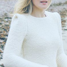 Hand knit sweater off white creamy sharp shoulder by AlisaDesign