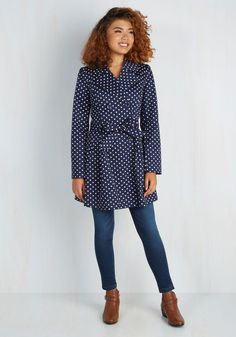 Capital Class Trench. Youre a metropolitan style maven as you stroll downtown in this polka-dotted trench coat by Myrtlewood! #blue #modcloth