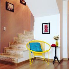 Poltrona string / designer Kay Thoss, poltrona amarela, cor na decoração projeto Fernanda Alves Interiores #tokstok # fernandaalvesinteriores