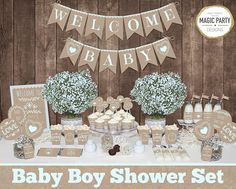 Save OVER 50% with the Baby Shower Mega Set! This adorable printable Rustic Baby boy shower MEGA SET has Everything you need to throw a perfect baby shower that will be sure to impress your guests. ►All files are in digital format and will be emailed to your ETSY email address