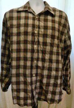 Men's Old Navy Plaid Button Up Long Sleeve Shirt 100% Cotton Green Red Size L #OldNavy #ButtonFront