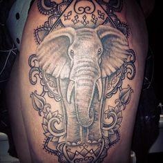 Instagram media by janehazard - Today's thigh tattoo!! :) #elephant #tattoo #elephanttattoo #thightattoo