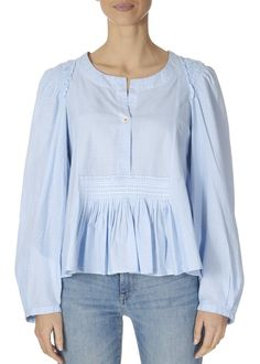 This is the 'Amicable' Pale Blue Long Sleeve Top by our friends at HIGH Couture! Full flare-out shirt in pale blue and white mini-pow check. White Tops, Blue And White, Blue Long Sleeve Tops, Funnel Neck, Green Silk, Black Ruffle, Ruffle Sleeve, Tunic Tops, Couture