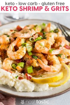 Keto Shrimp and Grits recipe that is just PERFECTION on a plate, it doesn't get any better than this!! With cheesy, yummy, grain free 'grits' you'll be coming back for more!! This keto low carb shrimp recipe comes together in next to no time and is a really easy weeknight family meal that can double as a fancy dinner party menu item too, you're going to LOVE it! | www.noshtastic.com | #lowcarb #noshtastic #glutenfree #keto #shrimp #grits #shrimpandgrits #ketodiet #ketogenic #ketorecipes #ketogen Low Carb Shrimp Recipes, Low Carb Dinner Recipes, Seafood Recipes, Diet Recipes, Breakfast Recipes, Healthy Recipes, Cookbook Recipes, Diet Meals, Free Breakfast