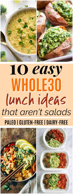 10 Whole30 Lunch Ideas that Aren't Salads | These Whole30 lunch ideas look SO amazing! I really needed some Whole30 lunch ideas because I'm tired of eating the same things all the time. I love that all of these Whole30 lunch recipes are easy to make and none of them are salads! Plus, all of them are Whole30, gluten-free, grain-free, and dairy-free. Definitely pinning for later! #paleo #whole30 #paleorecipes #whole30recipes
