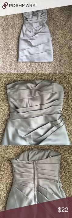 David's Bridal Satin Strapless Ruched Dress Perfect condition! It's so flattering - the ruching makes you look slim and amazing. Fully lined with back zip. Pewter color. Size 2. David's Bridal Dresses