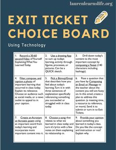Choice Boards in the Classroom Through Using Exit Tickets & Technology. From ways to check understan Teaching Technology, Educational Technology, Business Technology, Technology In Schools, High School Classroom, Flipped Classroom, Biology Classroom, English Classroom, Classroom Door