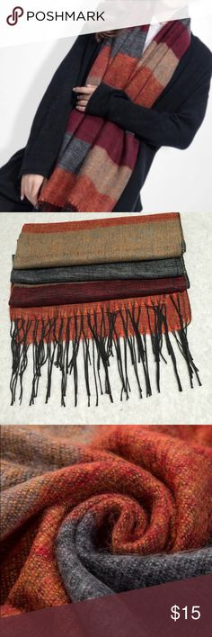 """Soft Pashmina Scarf This soft fringed Pashmina scarf is bursting with variegated fall colors. (Burnt orange, tan, burgundy, gray) 25"""" x 69"""" Accessories Scarves & Wraps"""