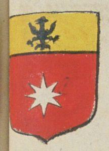 Jean BRUMEAU, marchand à Saumur. Porte : de gueules à une étoile à 8 rais d'argent, et un chef d'or chargé d'un aigle de sable | N° 153 > Saumur