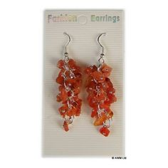 Length of cluster: approx 4 cm; each cluster contains 15 – 20 gemstone chips. Cluster Earrings, Drop Earrings, Carnelian, Gemstones, Orange, Chips, Jewelry, Products, Jewlery