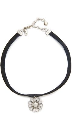 Vanessa Mooney Black Leather Choker with Daisy