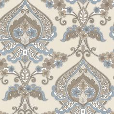 Zinc Ashbury Paisley Damask Brown-Blue Wallpaper 450-67368