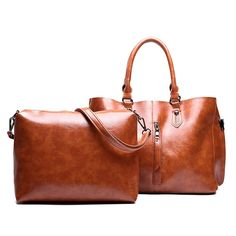 71b7bb89b20f 2 PCS Women Oil Wax PU Leather Tote Handbag Vintage Crossbody Bag is  designer