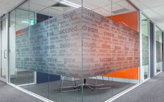Amicus Interiors possible have our core values frosted on a glass wall like this?