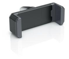 fixxo Universal KFZ-Handyhalter (schräg) in den Standardfraben, schwarzes Kunststoff-Gehäuse mit grauen Silikon-Backen