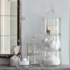 Stacked Apothecary Jars - traditional - bath and spa accessories - West Elm
