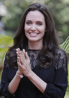 Angelina Jolie arrives at a press conference ahead of the premiere of her new film 'First They Killed My Father' set up at the Raffles Grand Hotel D'Angkor on February 18, 2017 in Siem Reap, Cambodia.