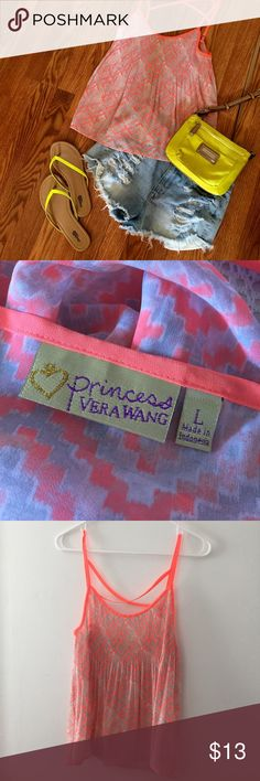 Princess By Vera Wang Neon Diamond Tank Top This is brand new, never been worn! It has a super cute neon orange, grey and white diamond pattern! It is a size large. If you are interested in the lime Calvin Klein cross body or lime Charlotte Russe flip flops (Size 8) as well, just ask! Bundle and save  I do not trade or hold items for anyone! Vera Wang Tops Tank Tops