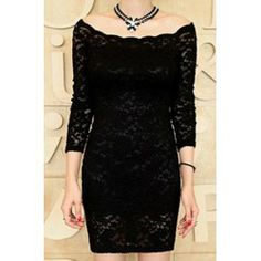 Wholesale Slash Neck Long Sleeve Slimming Solid Color Lace Packet Buttock Dress For Women  Long Sleeve Dresses - Rosewholesale.com