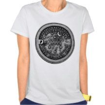 New Orleans water meter lid on a shirt.