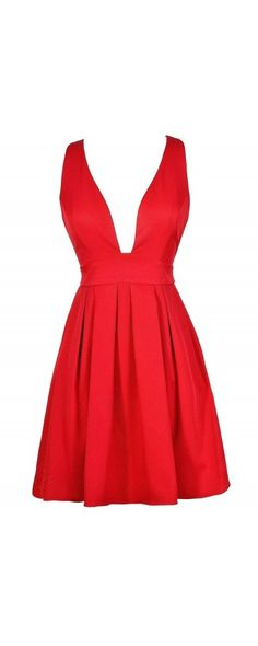 Dip and Twirl Plunging Neckline A-Line Dress in Red  www.lilyboutique.com