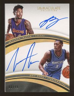d5161b0c6 2016-17 Immaculate Brandon Ingram Kris Dunn Dual AUTO 8 49. NBA OFFICIAL