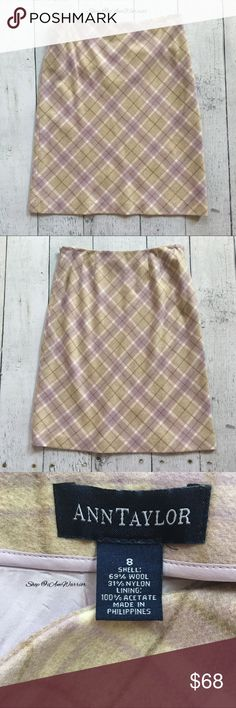 "Ann Taylor tan, cream & lavender plaid skirt Beautiful soft plaid skirt in soft shades of tan, light brown, cream and lavender purple. Fully lined in lavender satiny fabric. Side zip. Great condition with a very small area of fabric wearas shown. From center top waist to bottom hem is approx 23"" long, 15"" across waist. Please read my bio regarding closet policies prior to any inquiries. Ann Taylor Skirts"